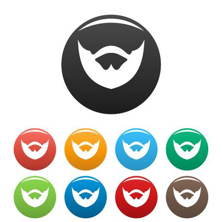 Clipped beard icon. Simple illustration of clipped beard icons set color isolated on white