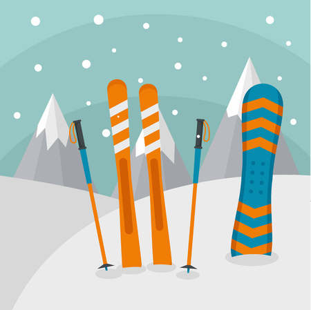 Ski mountains background. Flat illustration of ski mountains background for web design