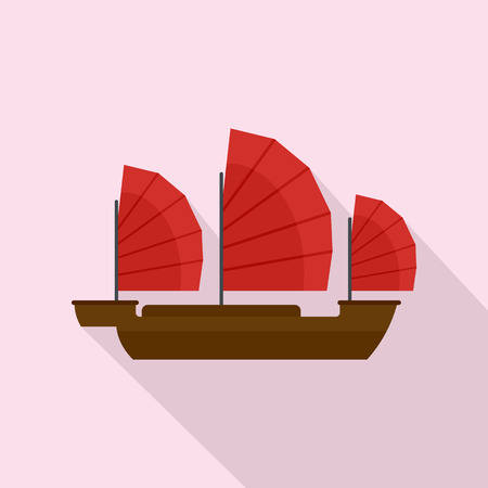China ship icon. Flat illustration of china ship icon for web design