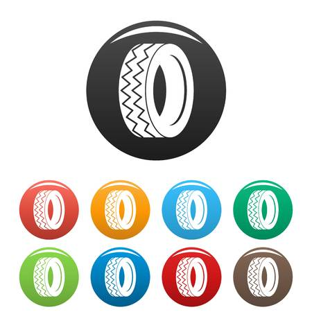 Round tire icon. Simple illustration of round tire icons set color isolated on white