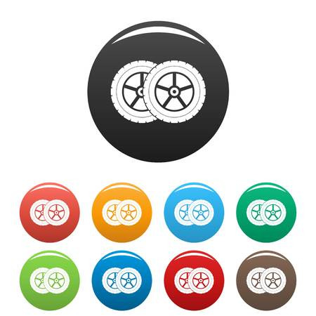Car tyre icon. Simple illustration of car tyre icons set color isolated on white Stock Photo