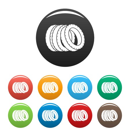 Pile of tire icon. Simple illustration of pile of tire icons set color isolated on white Stock Photo