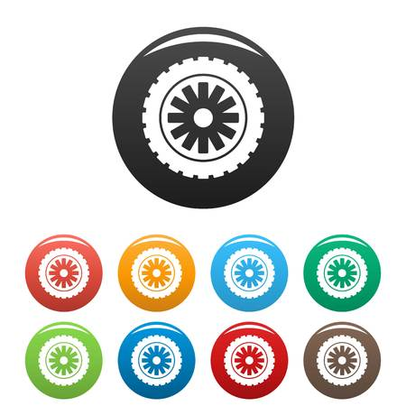 Rubber protector icons set color Stock Photo
