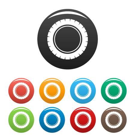 Single tire icons set color