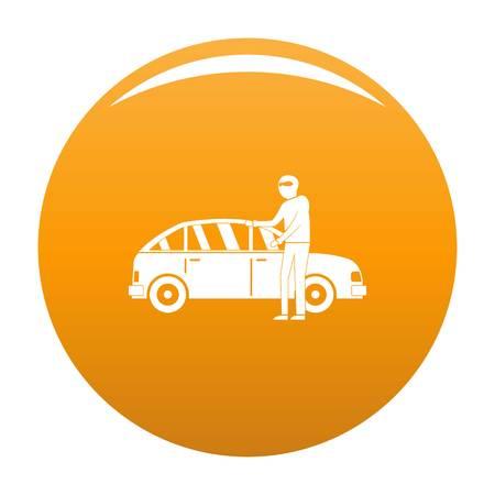 Hijacker icon. Simple illustration of hijacker icon for any design orange