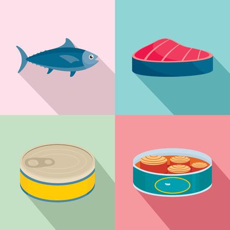 Tuna fish can steak icons set. Flat illustration of 4 tuna fish can steak icons for web