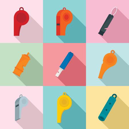 Whistle coaching blow icons set. Flat illustration of 9 whistle coaching blow icons for web