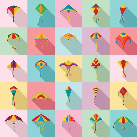 Kite flying festival surf icons set. Flat illustration of 25 kite flying festival surf icons for web Фото со стока