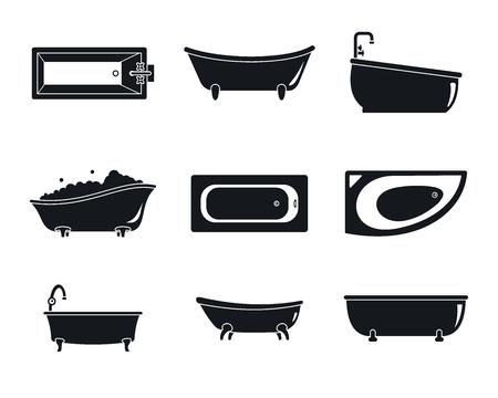 Bathtub interior icons set. Simple illustration of 9 bathtub interior icons for web