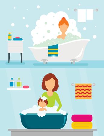 Bathtub bathe woman bulb banner concept set. Flat illustration of 2 Bathtub bathe woman bulb banner horizontal concepts for web