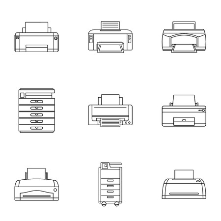 Technical specialist icons set. Outline set of 9 technical specialist icons for web isolated on white background Stok Fotoğraf