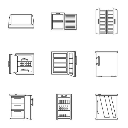 Refrigerating chamber icons set. Outline set of 9 refrigerating chamber icons for web isolated on white background