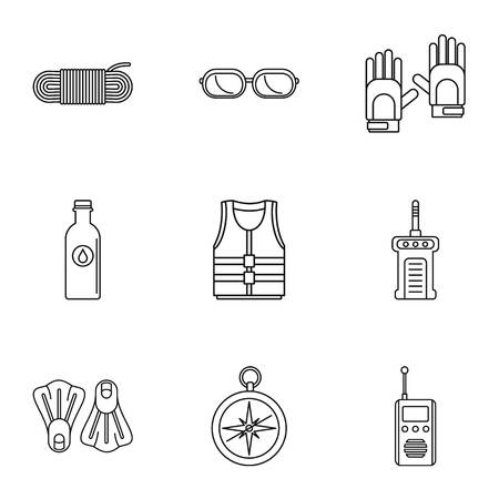 Immersing icons set. Outline set of 9 immersing icons for web isolated on white background Standard-Bild