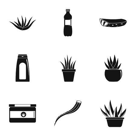 Aloe cream icons set. Simple set of 9 aloe cream icons for web isolated on white background
