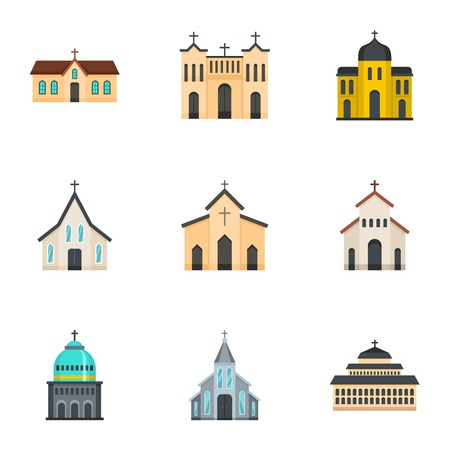 Church icons set. Cartoon set of 9 church icons for web isolated on white background