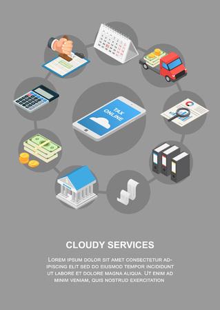 Tax online cloudy services banner vertical. Isometric illustration of tax online cloudy services banner vertical for web design