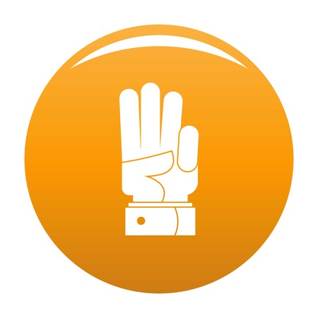 Hand three icon. Simple illustration of hand three icon for any design orange