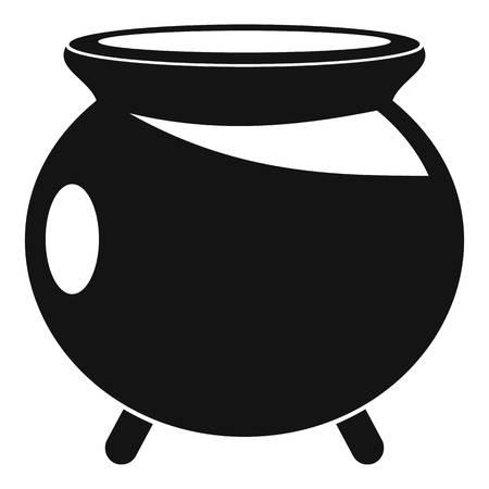 Halloween cauldron icon. Simple illustration of halloween cauldron icon for web design isolated on white background Stock Photo