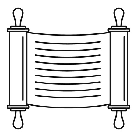 Torah scroll icon. Outline illustration of torah scroll icon for web design isolated on white background
