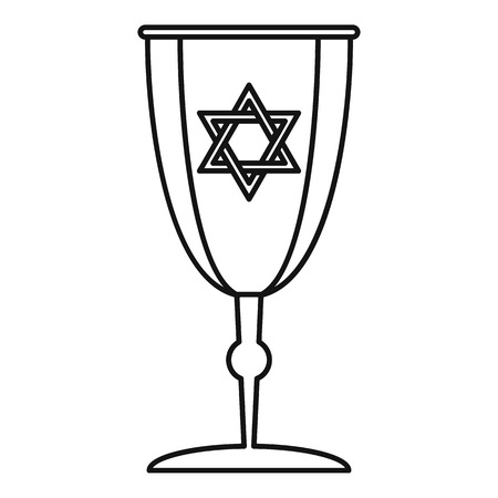Judaism cup icon. Outline illustration of judaism cup icon for web design isolated on white background