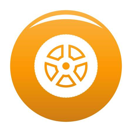 Wheel icon vector orange