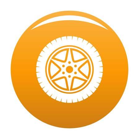 Car wheel icon vector orange
