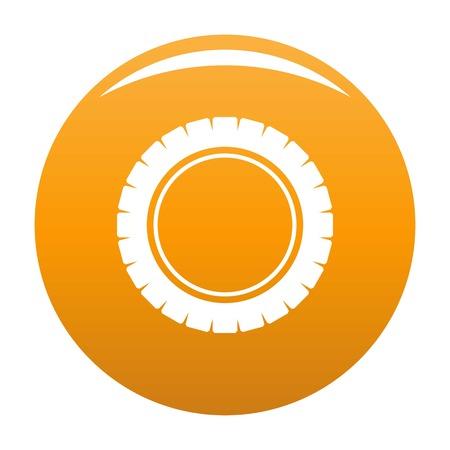 Single tire icon vector orange