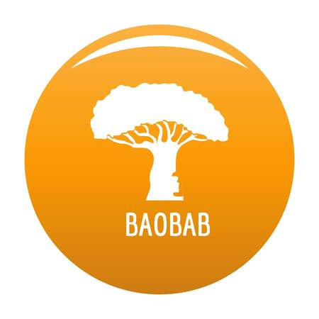 Baobab tree icon. Simple illustration of baobab tree vector icon for any design orange Illustration