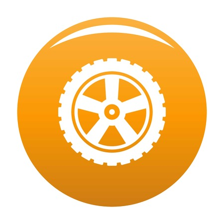 Transport tire icon. Simple illustration of transport tire vector icon for any design orange
