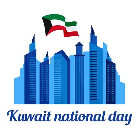 Kuwait national holiday background, flat style
