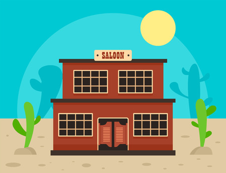 Desert saloon concept background, flat style