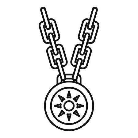 Necklace medallion icon. Outline necklace medallion icon for web design isolated on white background Stok Fotoğraf - 106162978
