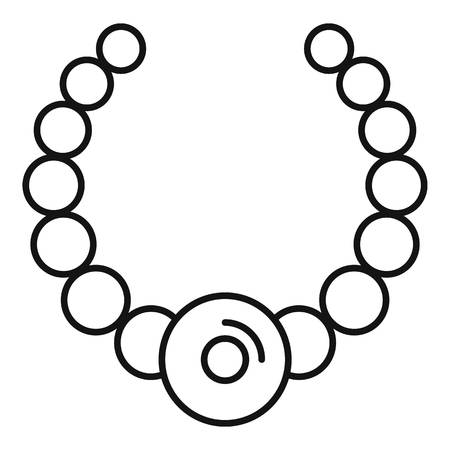 Gemstone fashion necklace icon. Outline gemstone fashion necklace icon for web design isolated on white background