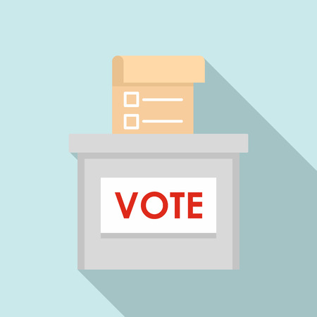 Vote election box icon. Flat illustration of vote election box icon for web design Stock Photo
