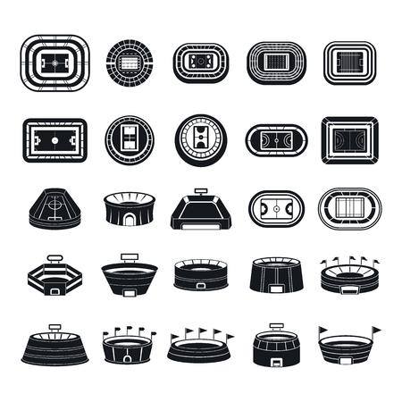 Arena stadium sport scene icons set. Simple illustration of 25 arena stadium sport scene icons for web