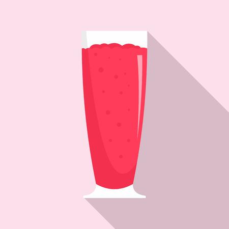 Cherry smoothie icon, flat style