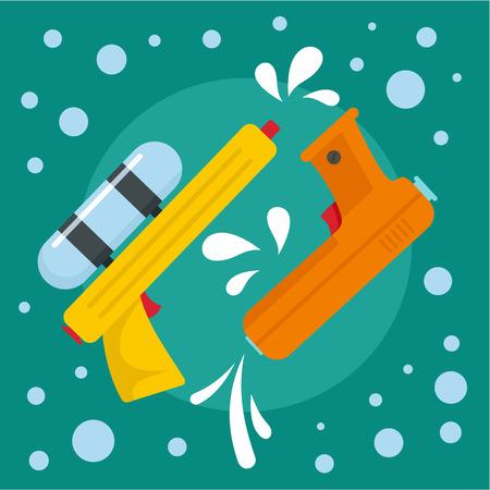 Water pistol festival background. Flat illustration of water pistol festival background for web design