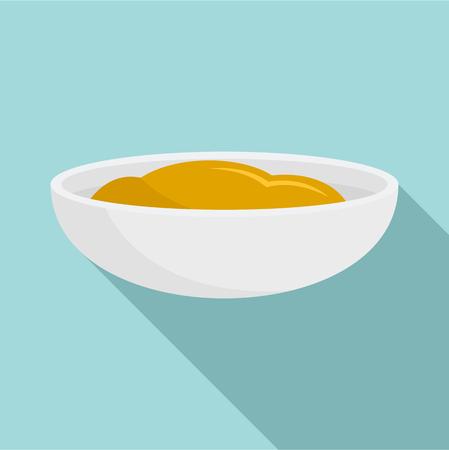 Mustard sauce icon. Flat illustration of mustard sauce icon for web design