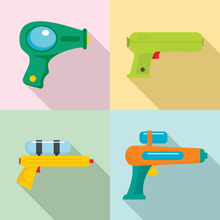 Squirt gun water pistol game icons set. Flat illustration of 4 squirt gun water pistol game icons for web