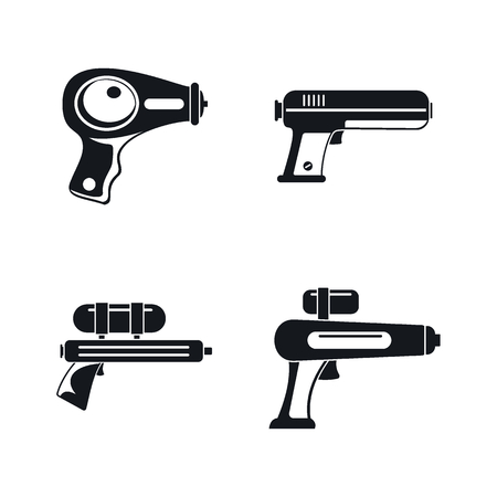 Squirt gun water pistol game icons set. Simple illustration of 4 squirt gun water pistol game icons for web