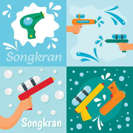 Squirt gun water pistol game banner concept set. Flat illustration of 4 squirt gun water pistol game banner horizontal concepts for web Stock Photo
