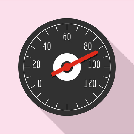 Bike speedometer icon. Flat illustration of bike speedometer icon for web design