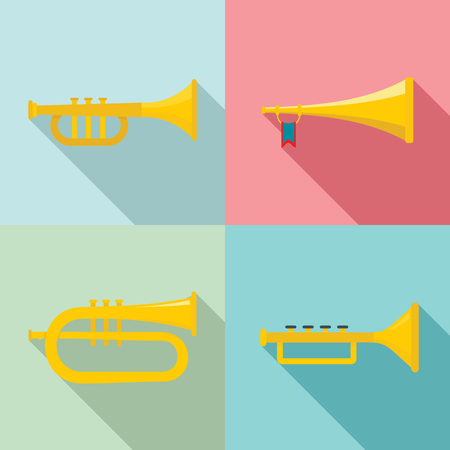 Trumpet horn musical instrument icons set. Flat illustration of 4 trumpet horn musical instrument icons for web