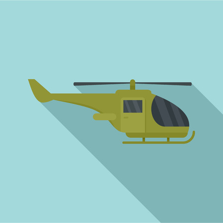 Military helicopter icon. Flat illustration of military helicopter icon for web design
