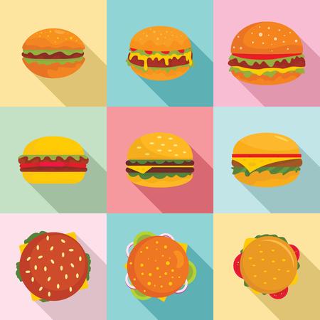 Burger sandwich bread bun icons set. Flat illustration of 9 burger sandwich bread bun icons for web