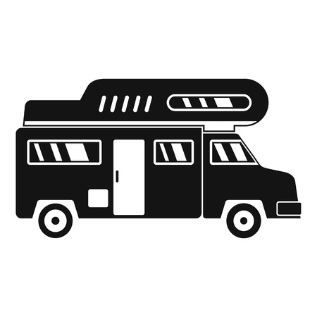 Camping truck icon. Simple illustration of camping truck icon for web design isolated on white background Archivio Fotografico