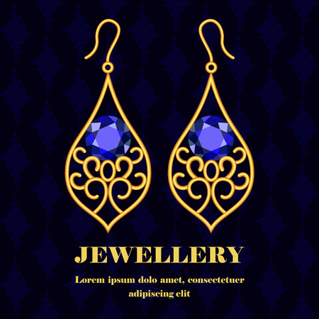 Gold jewellery concept background. Realistic illustration of gold jewellery concept background for web design