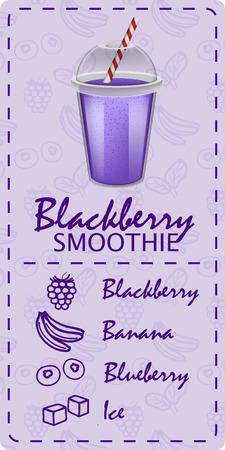 Violet smoothie concept banner. Realistic illustration of violet smoothie concept banner for web design