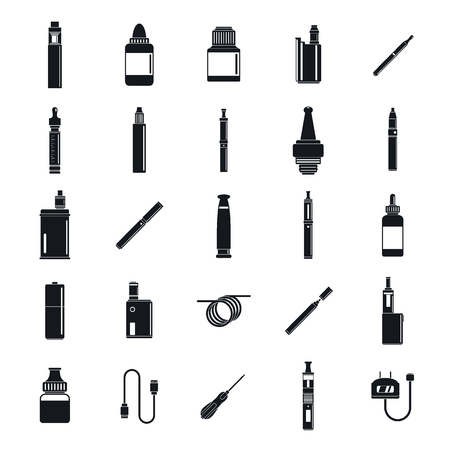 Electronic cigarette mod icons set, simple style