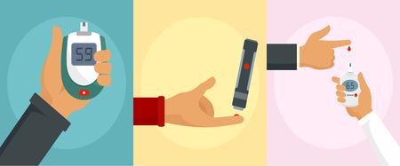 Glucose meter care check sugar blood test banner concept set. Flat illustration of 3 glucose meter care check sugar blood test banner concepts for web Stock Photo